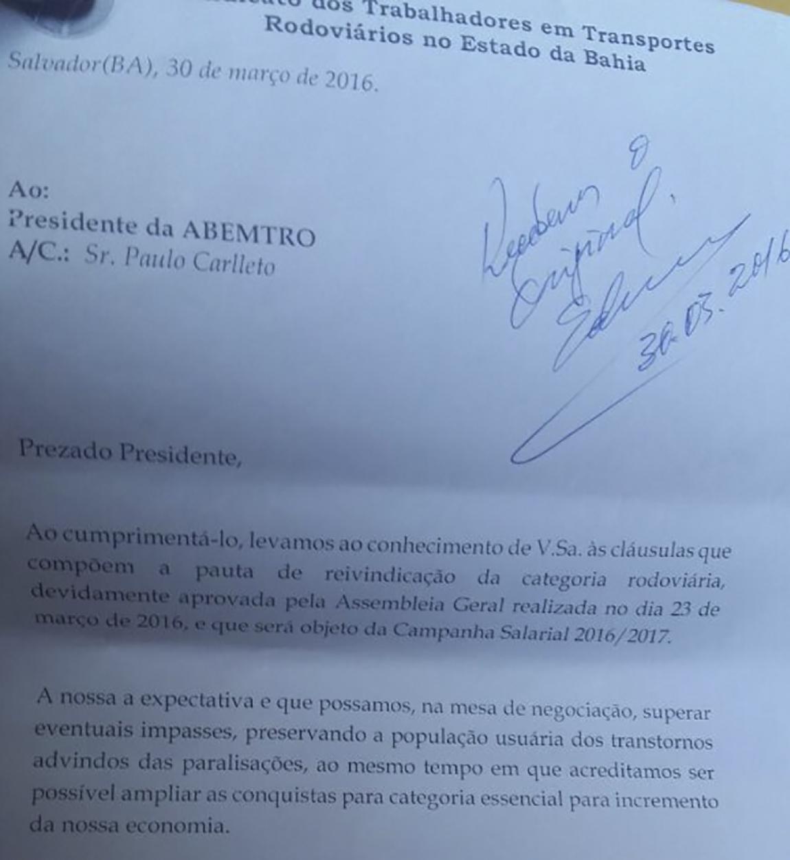 Imagem de Bahia: Rodoviários entregam pauta de reivindicações da Campanha Salarial