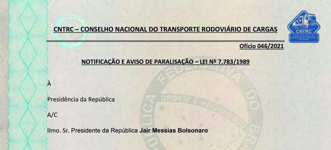 Imagem de Autoridades recebem notificação da greve dos caminhoneiros que começa nesta segunda